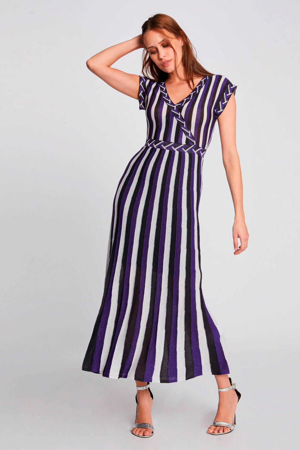 Morgan gestreepte jersey jurk violet/zwart/beige, Violet/zwart/beige