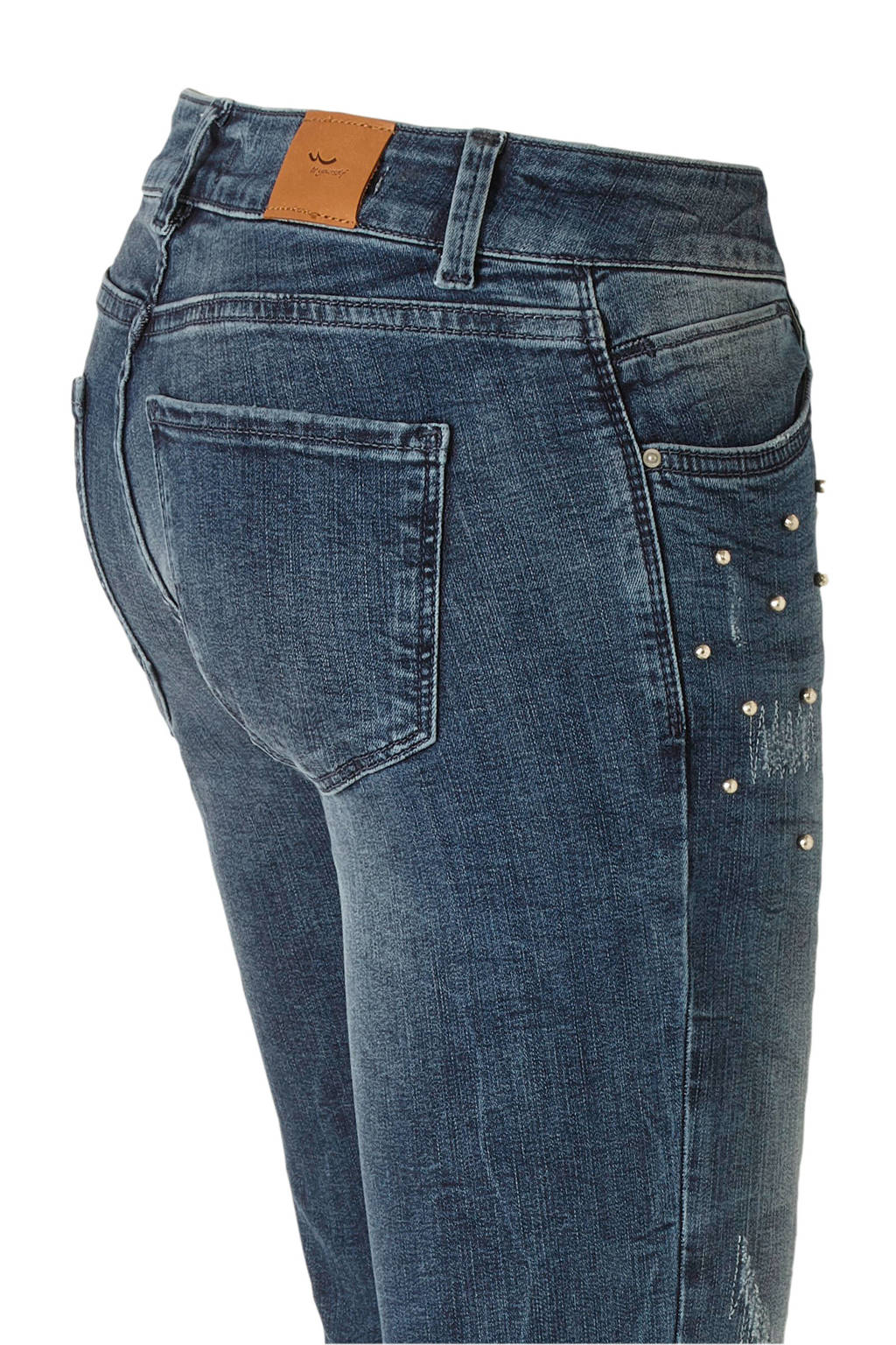LTB Be Yourself cropped high waist skinny jeans met kraaltjes blauw, Blauw