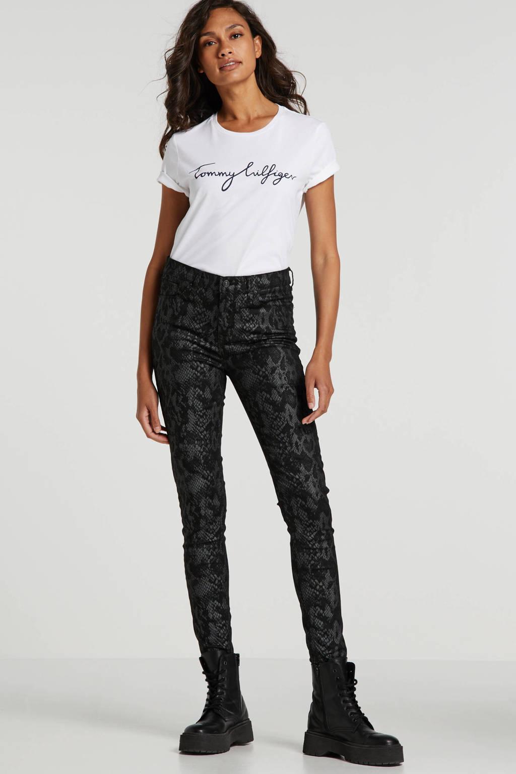 LTB slim fit broek met slangenprint zwart/grijs, Zwart/grijs