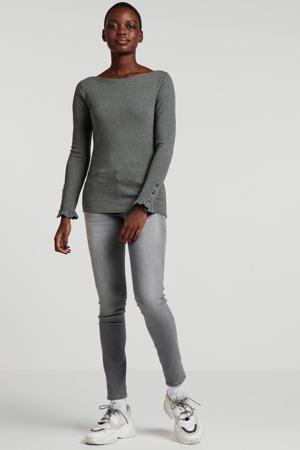 Be Yourself skinny jeans met zijstreep grijs
