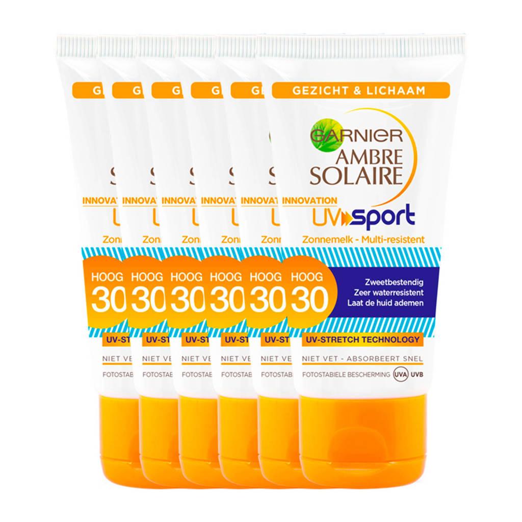 Garnier Ambre Solaire UV sport Reisformaat zonnemelk SPF 30 - 6x 50ml multiverpakking