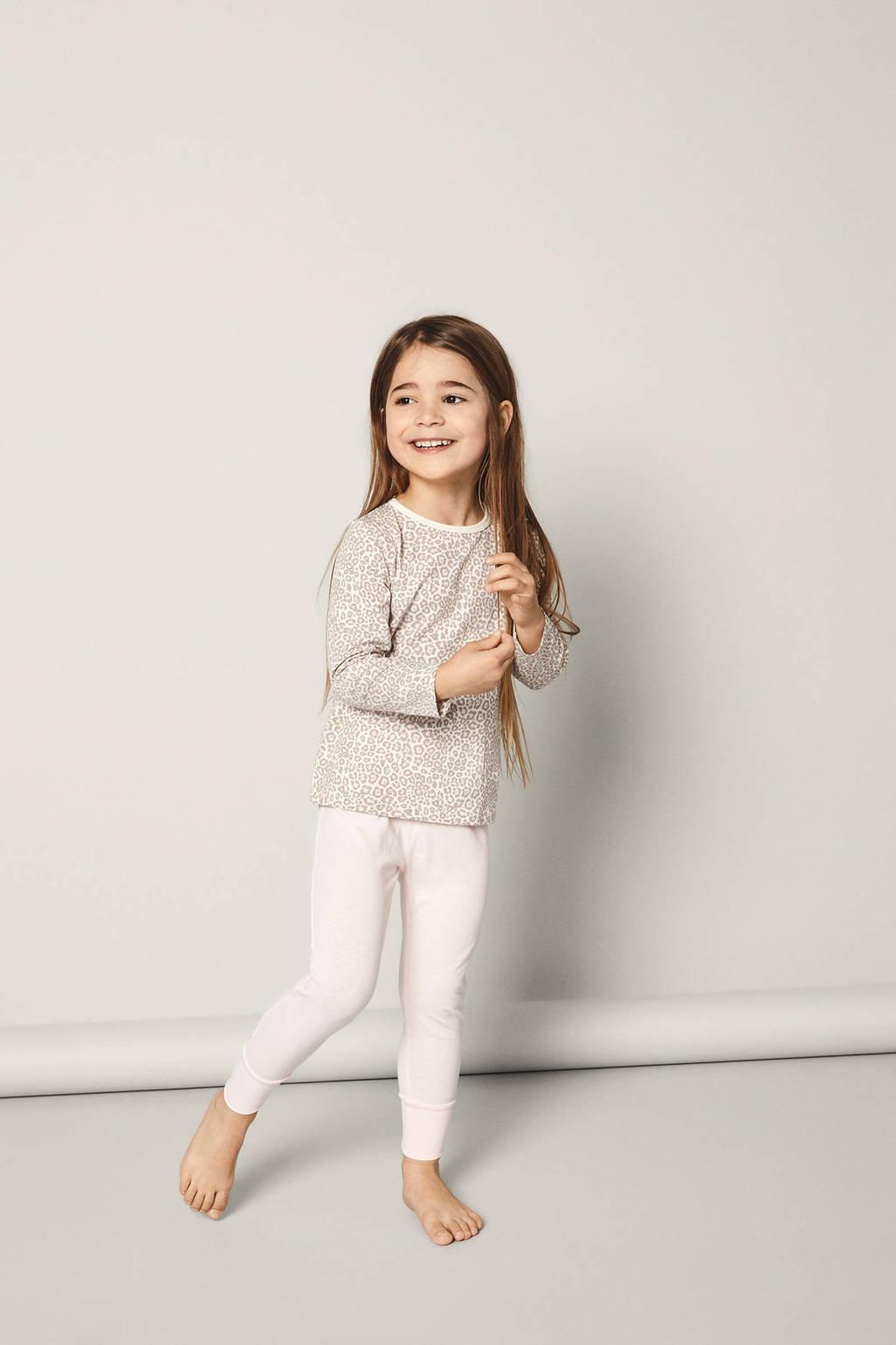 NAME IT KIDS pyjama met panterprint, Lichtroze