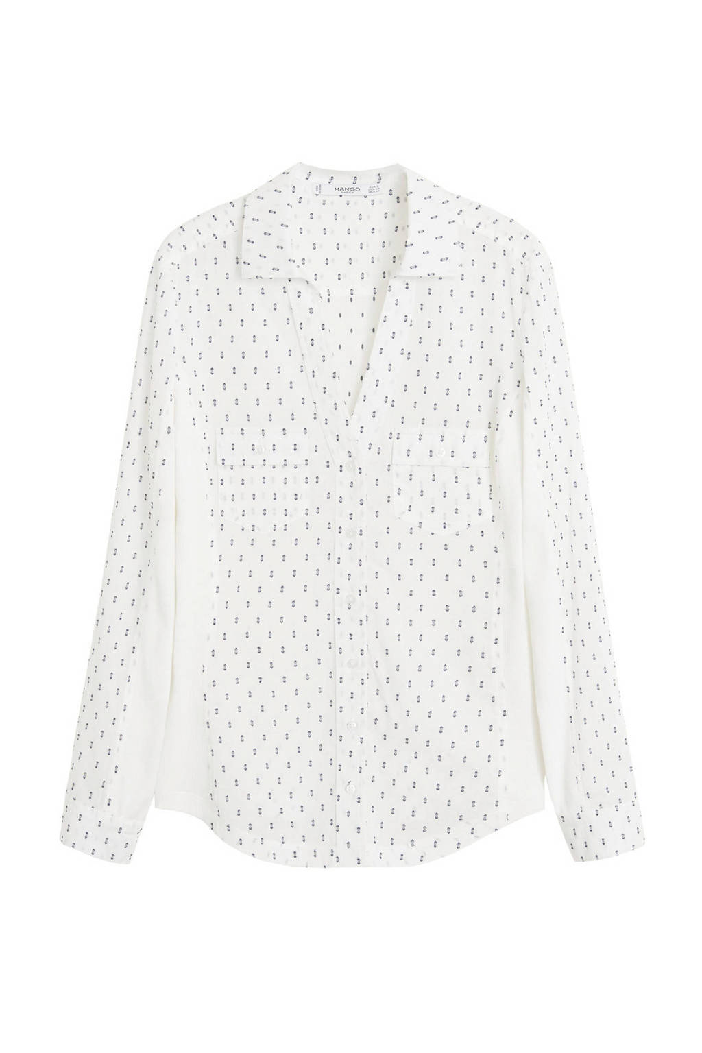 Mango blouse met all over print wit, Wit