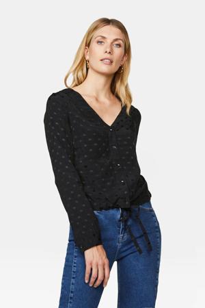 blouse met stippen zwart