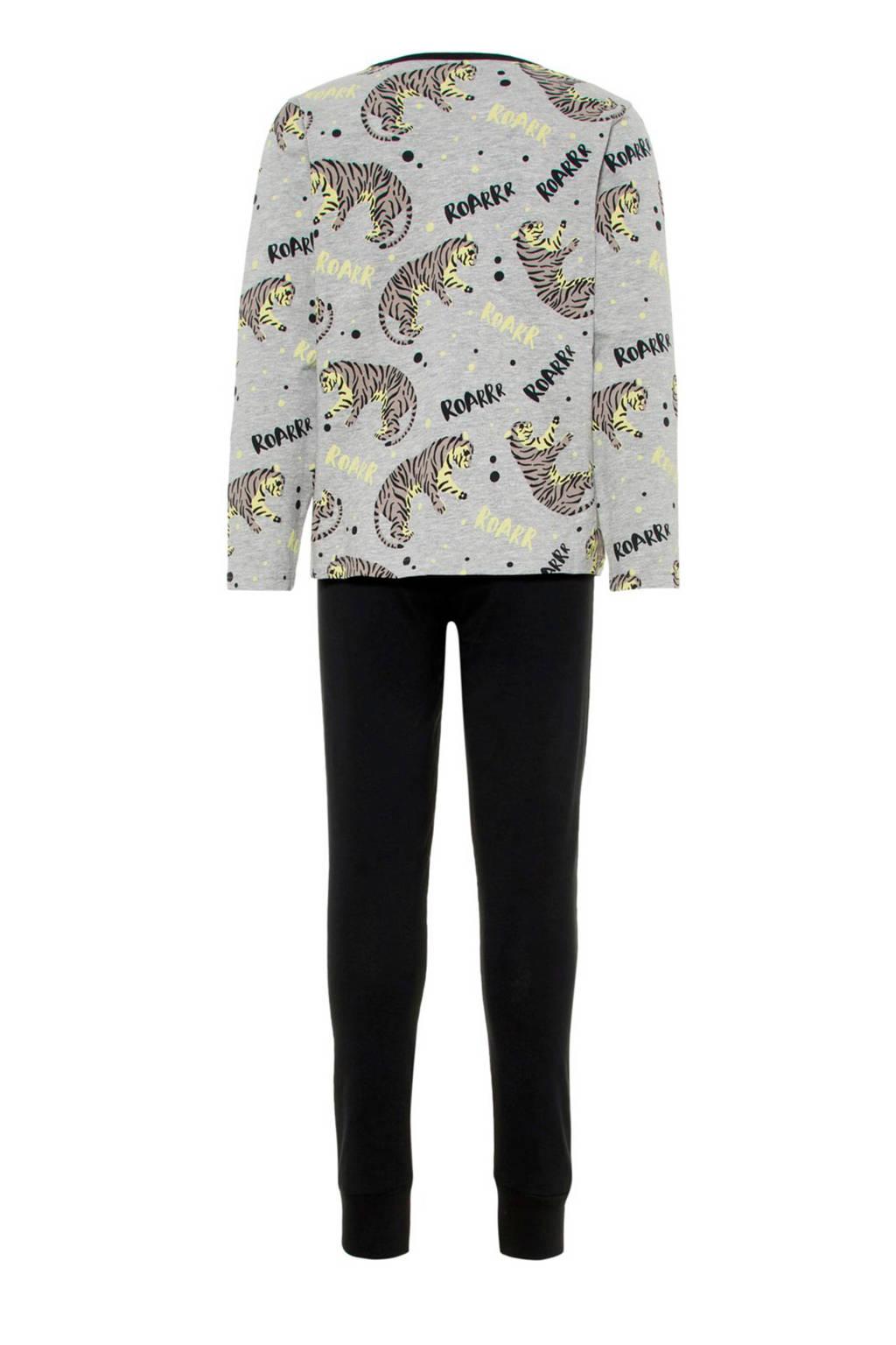 NAME IT KIDS   pyjama, Grijs melange/ zwart/ lichtgeel