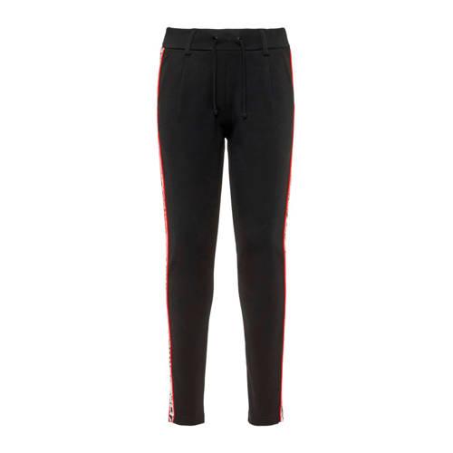NAME IT KIDS broek met zijstreep zwart/ rood/ wit