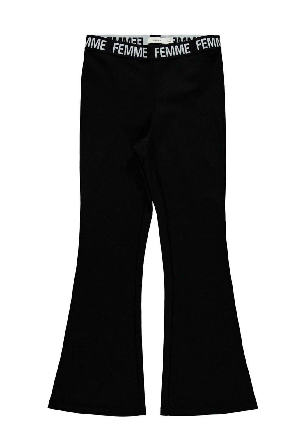 NAME IT KIDS bootcut broek Mira zwart, Zwart