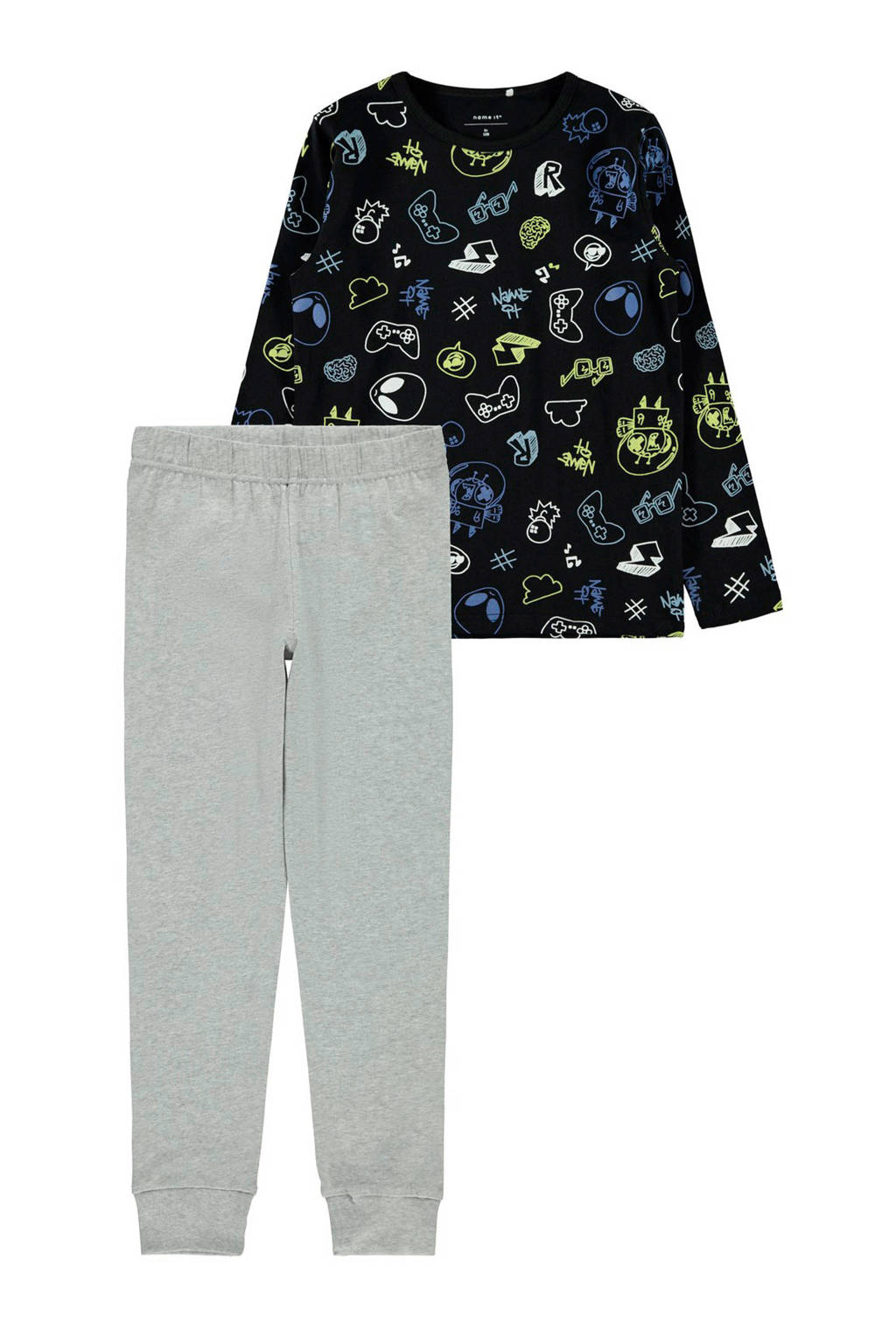 NAME IT KIDS   pyjama met all over print zwart/grijs, Zwart/grijs