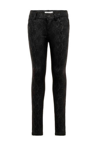 KIDS skinny jeans met slangenprint zwart