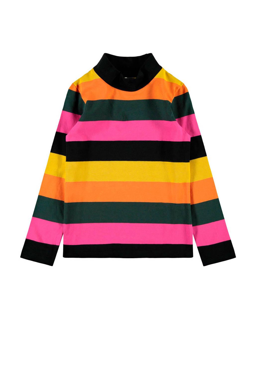 NAME IT KIDS gestreepte longsleeve Nira roze/zwart/oranje, Roze/zwart/oranje