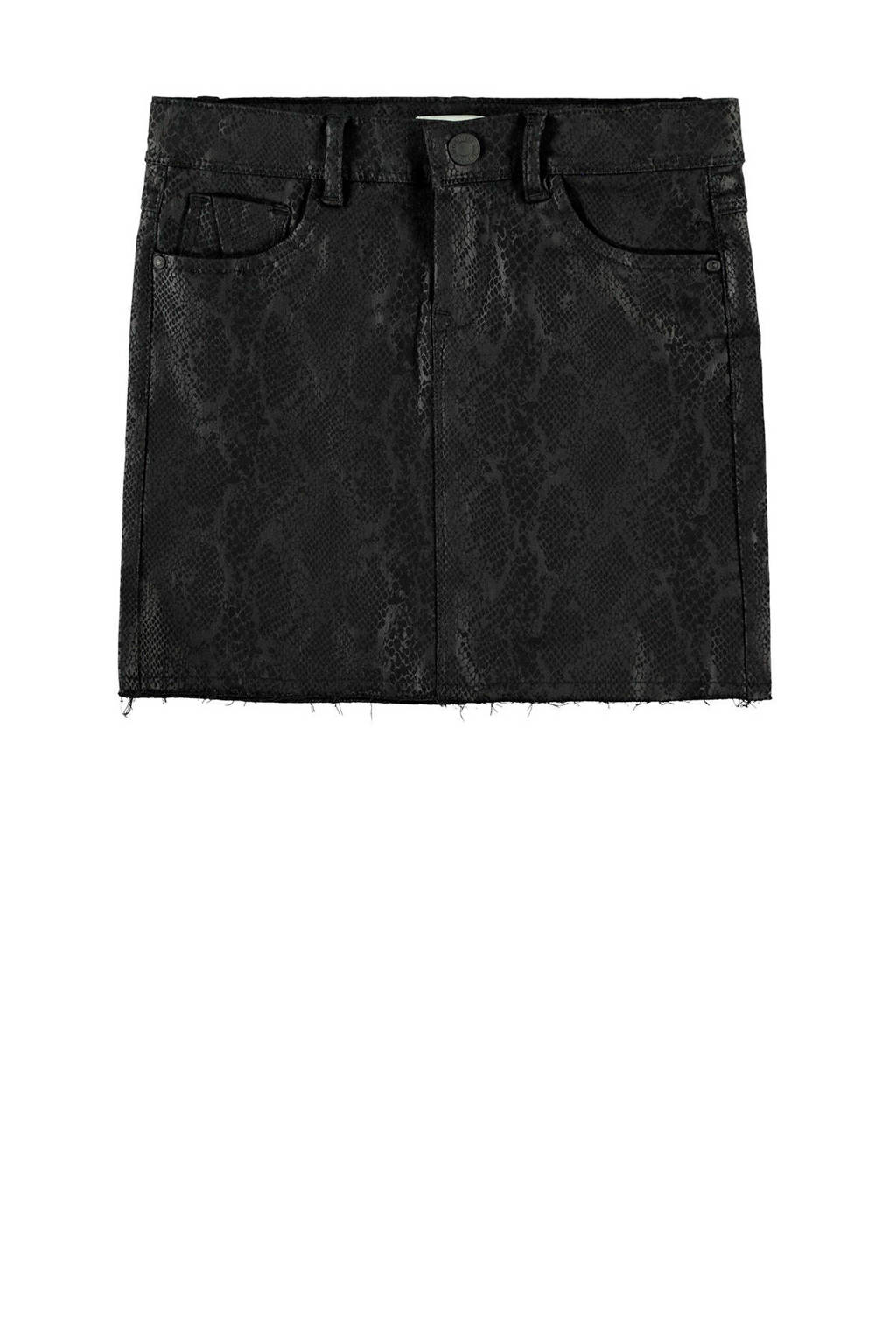 NAME IT KIDS rok met slangenprint zwart, Zwart