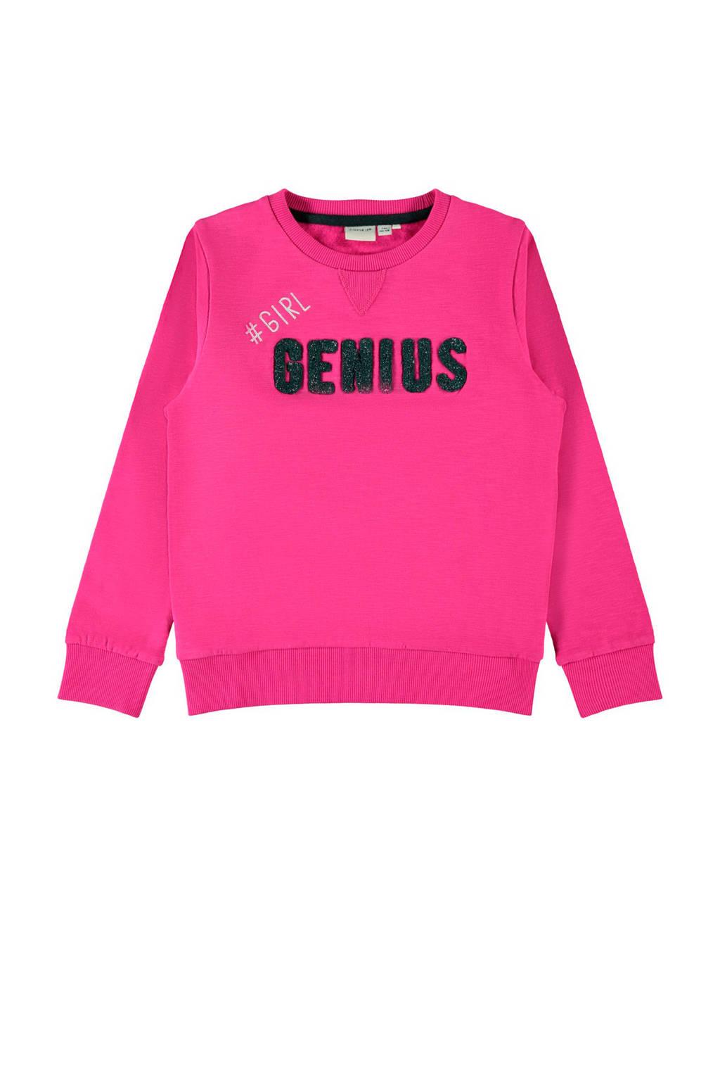 NAME IT KIDS sweater Nielsine met borduursels fuchsia, Fuchsia