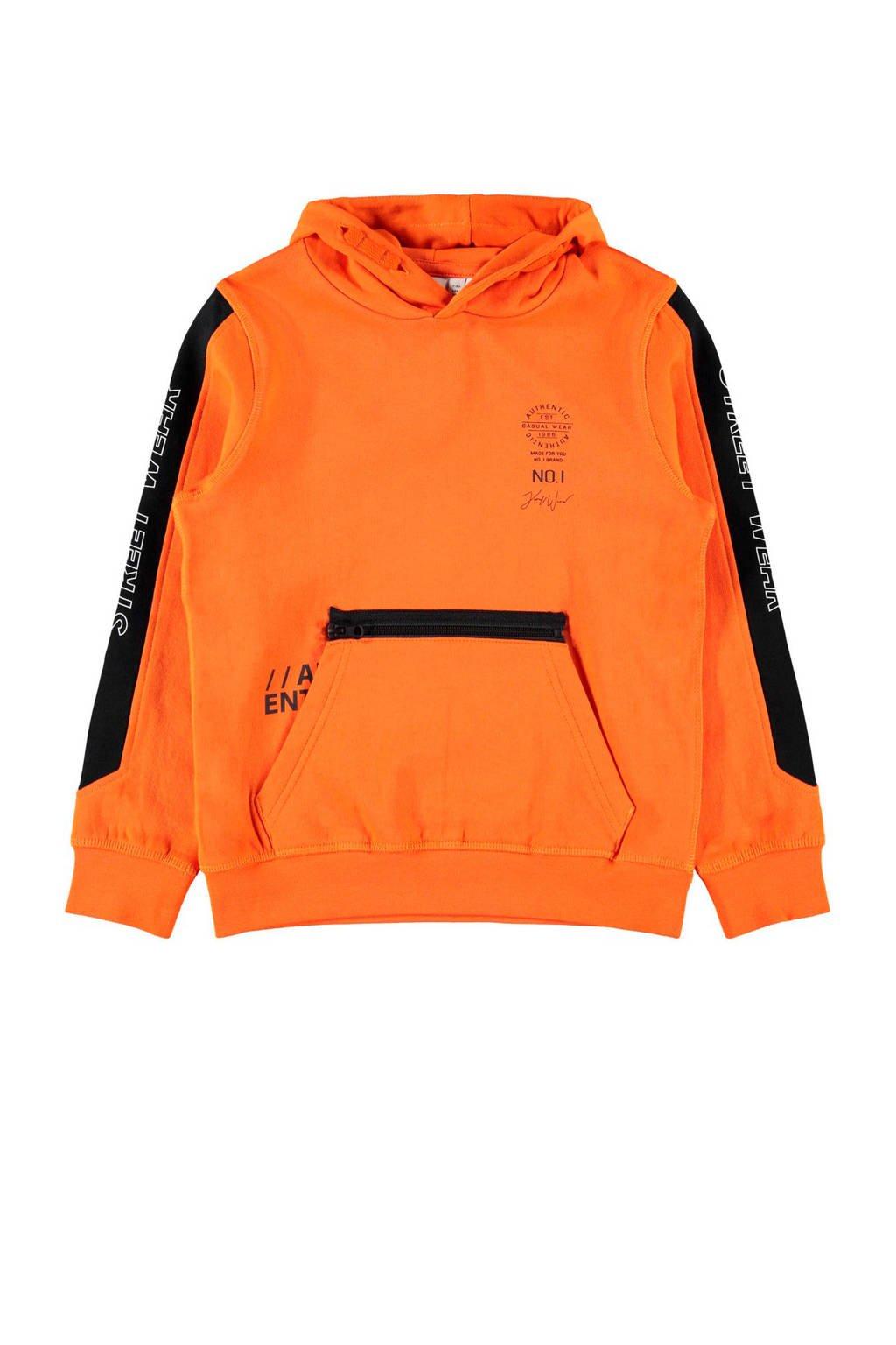 NAME IT KIDS hoodie Najim van biologisch katoen oranje, Oranje