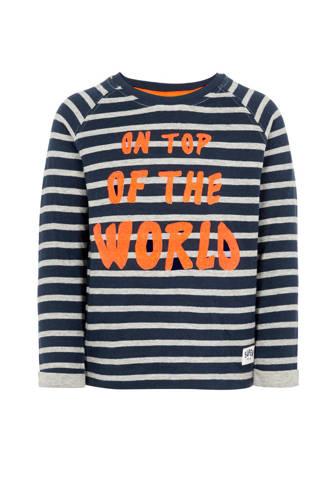 MINI sweater met tekst donkerblauw/grijs/oranje