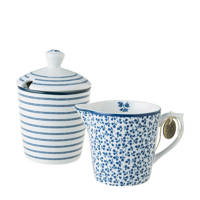 Laura Ashley melk- en suikerset, Blauw/wit
