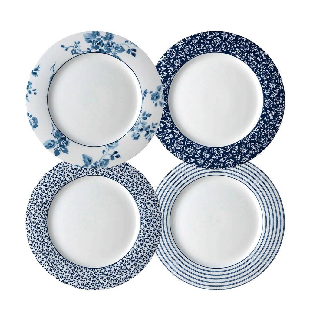 Laura Ashley bord (Ø23 cm) (set van 4), Blauw/wit