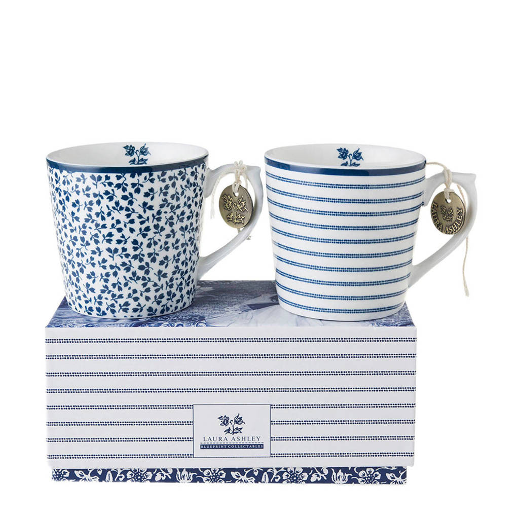 Laura Ashley mok (set van 2), Blauw/wit