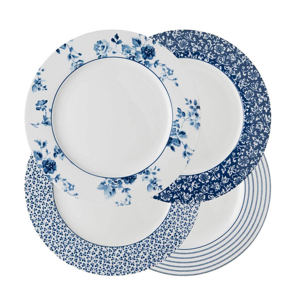 Laura Ashley dinerbord (Ø26 cm) (set van 4), Blauw/wit