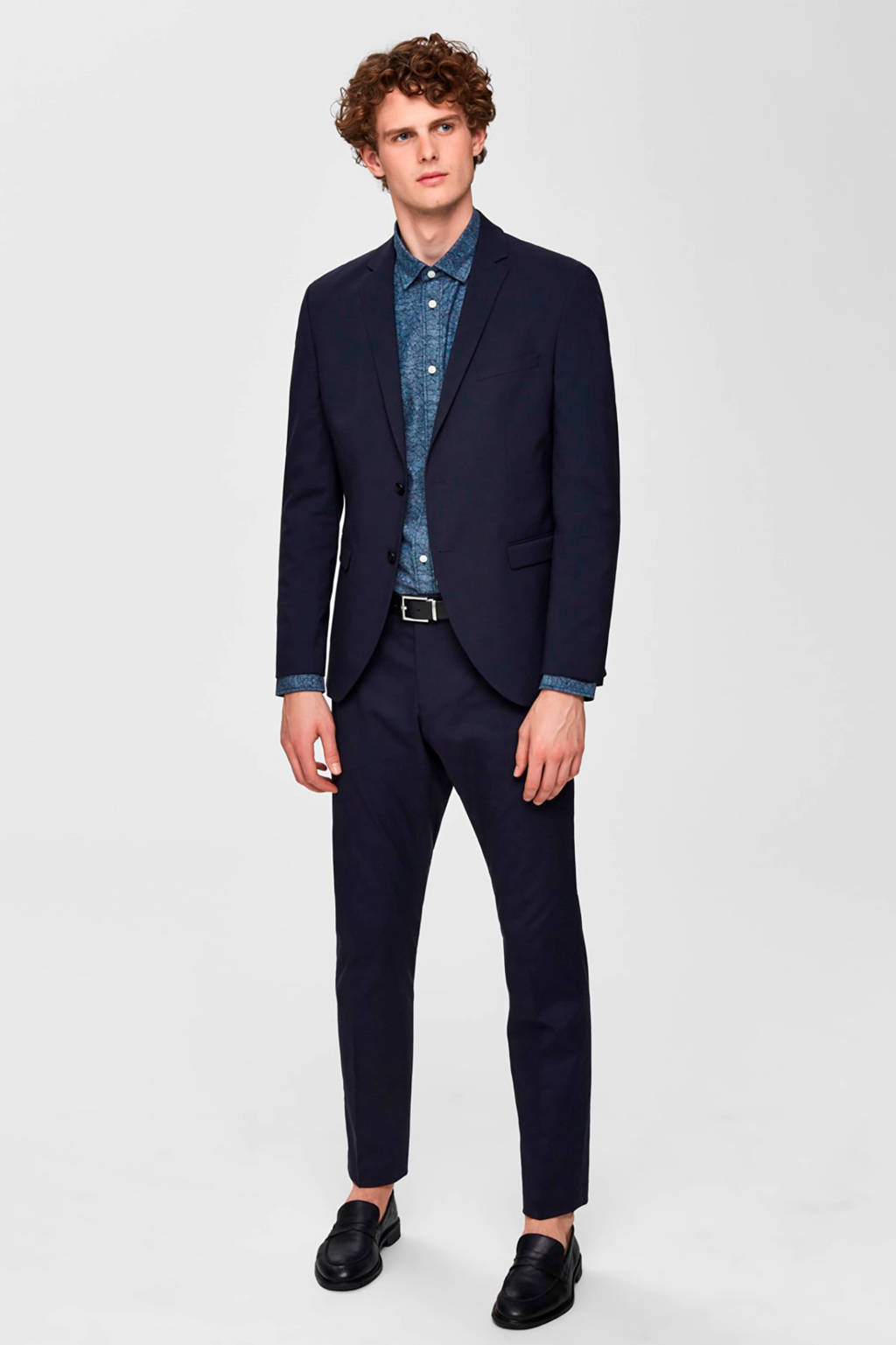 SELECTED HOMME overhemd met all over print, Donkerblauw