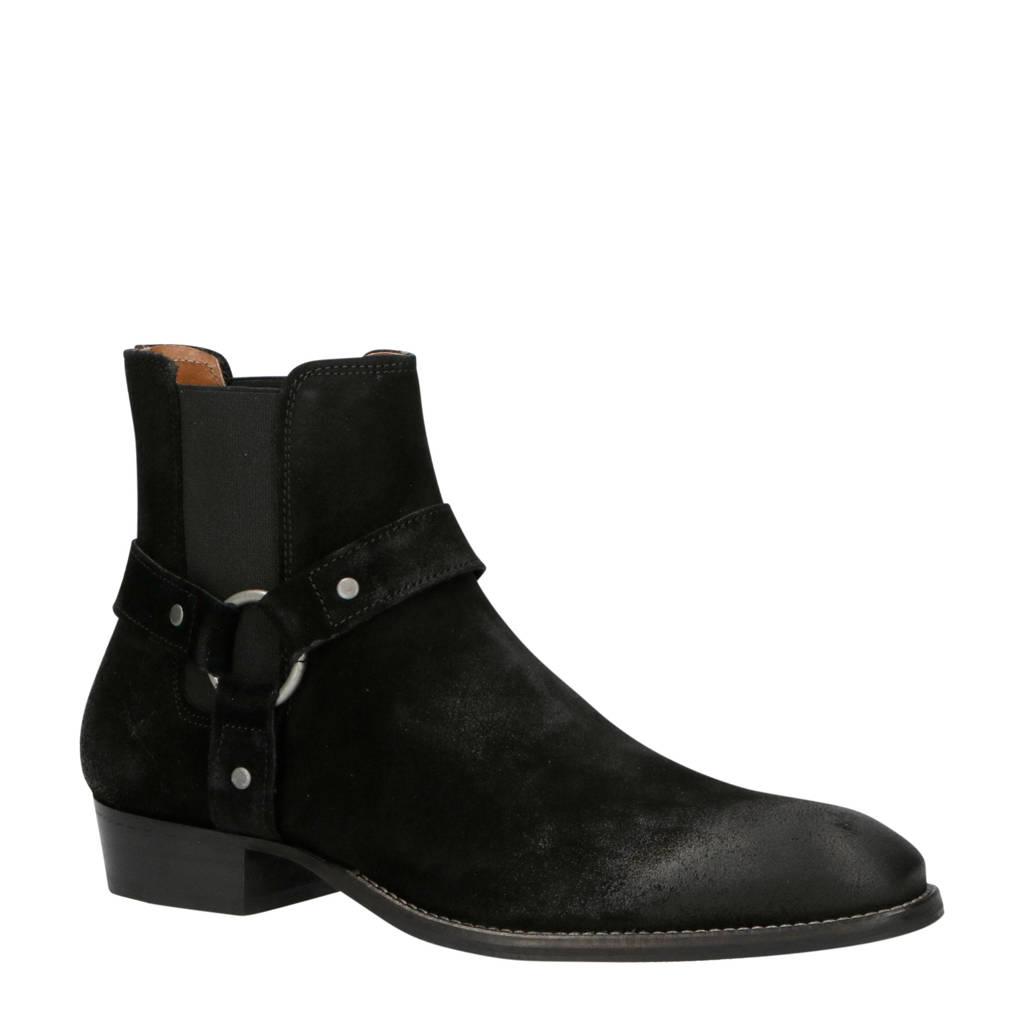 Bianco   56-71767 suède chelsea boots zwart, Zwart