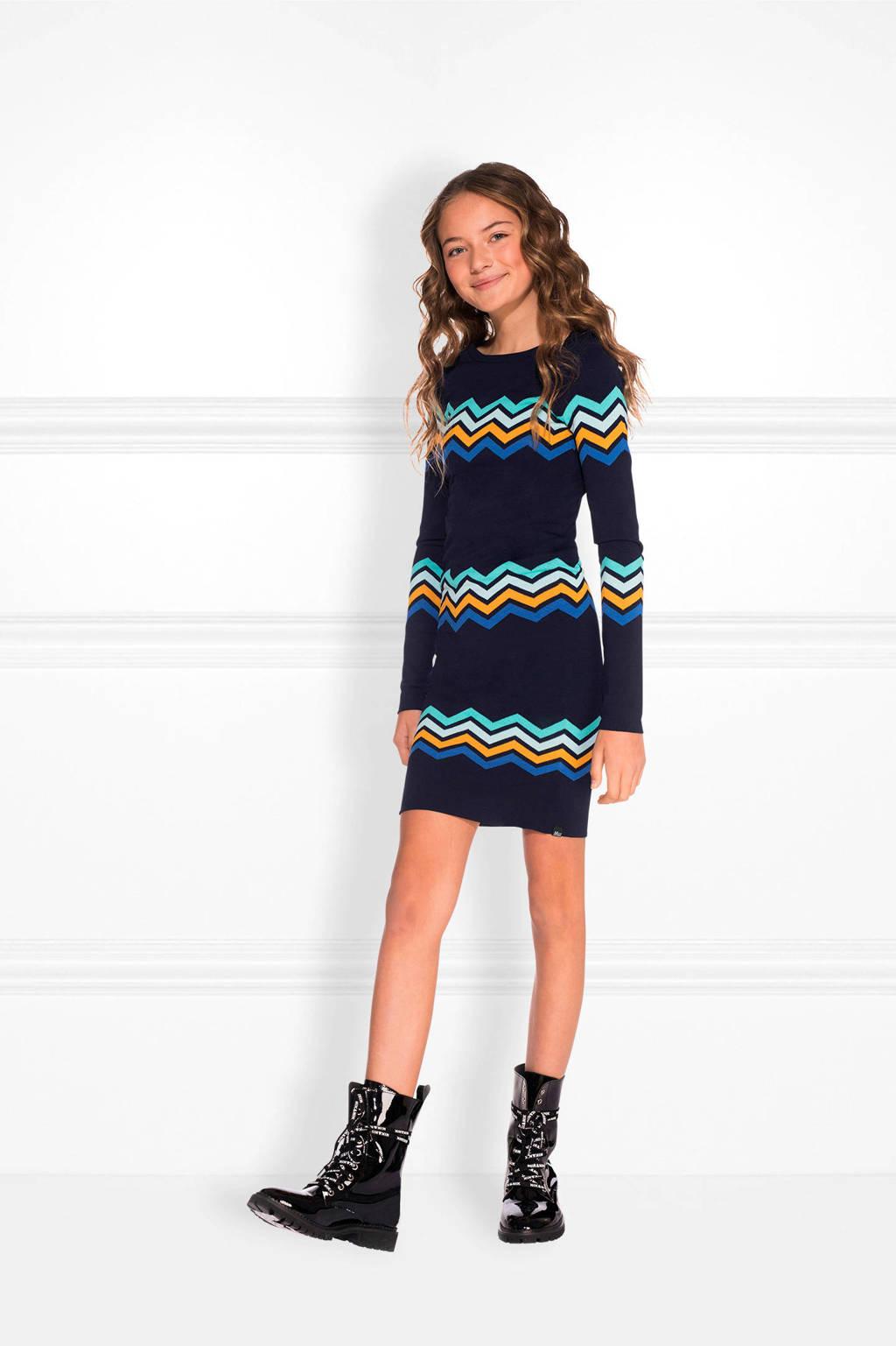 NIK&NIK jurk Jolie Isla met grafisch dessin donkerblauw, Donkerblauw/groen