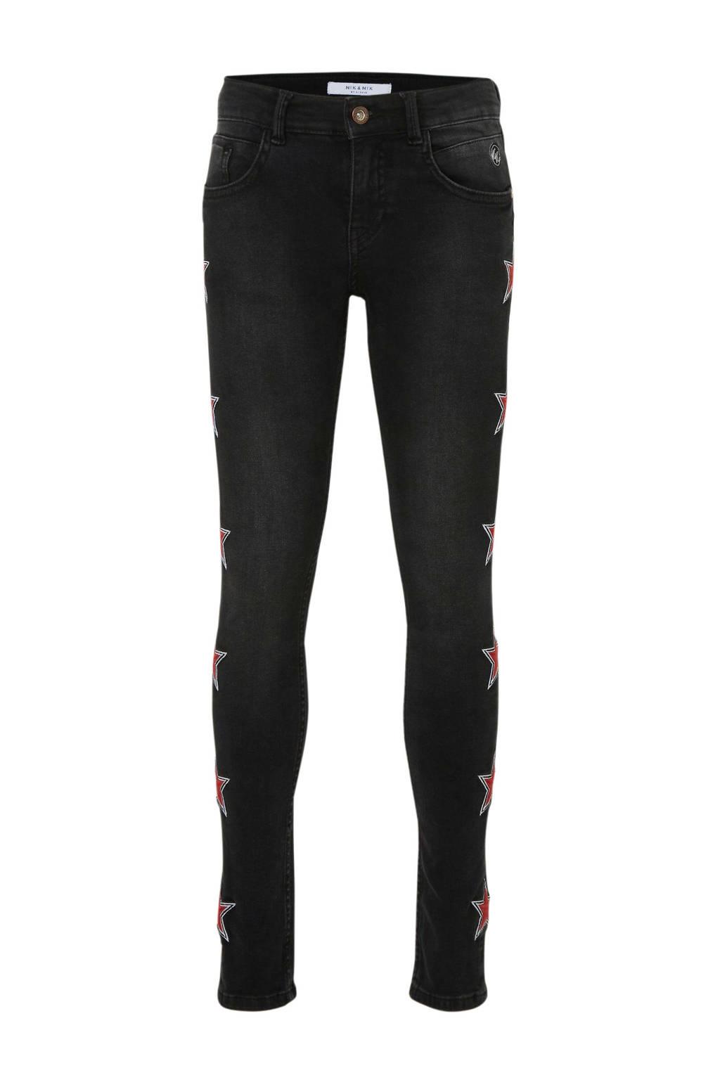 NIK&NIK skinny jeans Fiona Star met sterren black denim, Black denim