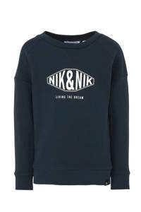 NIK&NIK sweater Living The Dream met logo donkerblauw, Donkerblauw