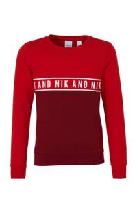 NIK&NIK sweater met logo rood/donkerrood, Rood/donkerrood