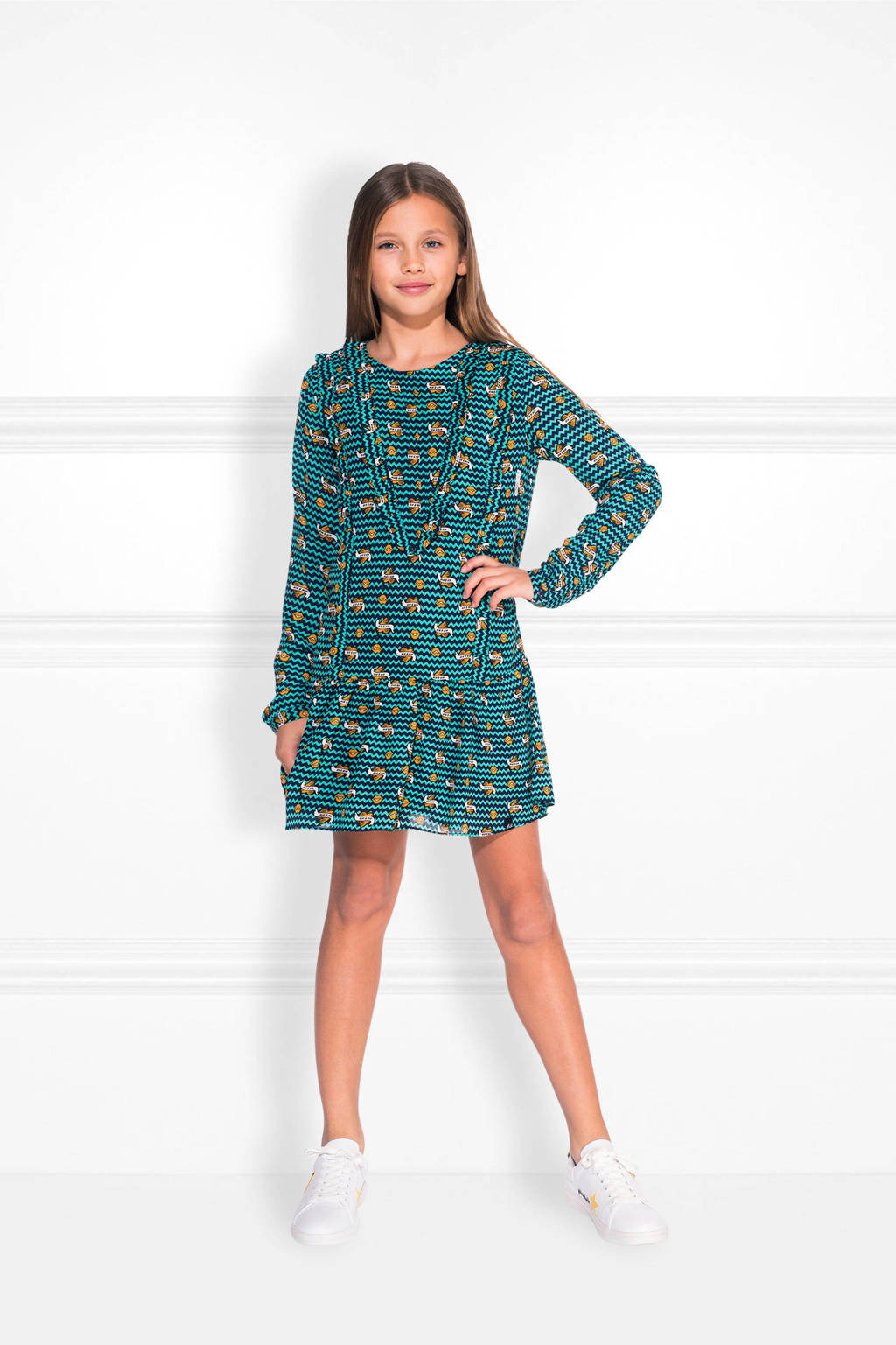 NIK&NIK jurk Bobby met all over print zeegroen, Zeegroen/donkerblauw/multi