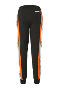 NIK&NIK broek Ferdy met zijstreep zwart/oranje, Zwart/oranje