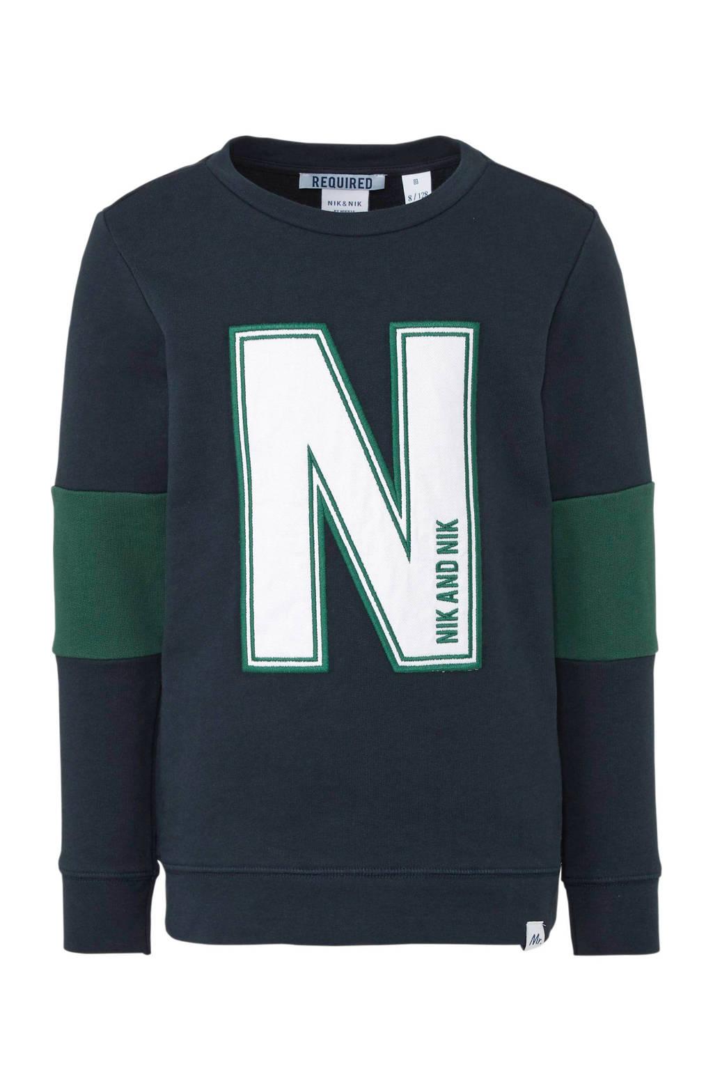 NIK&NIK sweater Pasquallo met printopdruk donkerblauw/groen, Donkerblauw/groen