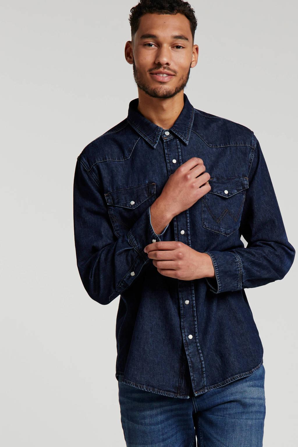 Wrangler regular fit denim overhemd dark denim, Dark denim