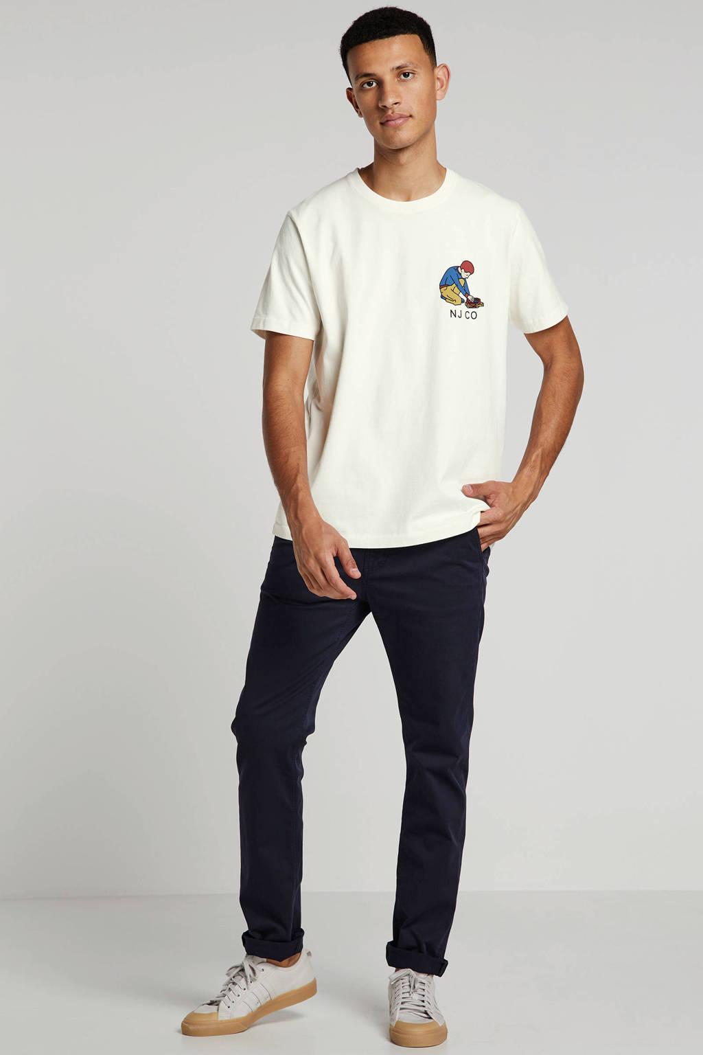 Nudie Jeans T-shirt van biologisch katoen ecru/beige/rood/blauw, Ecru/beige/rood/blauw