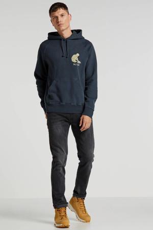 hoodie van biologisch katoen grijs/blauw