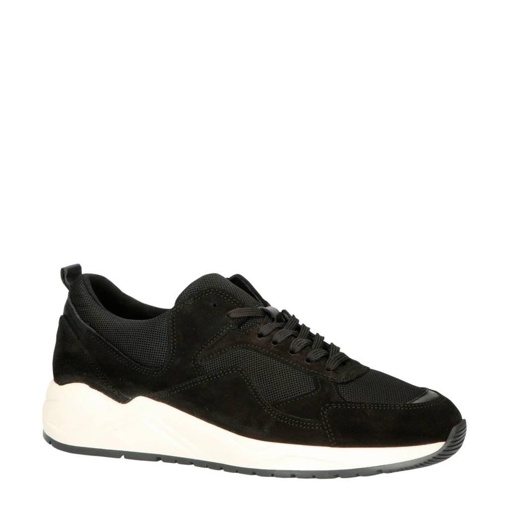Bianco 64-71821  suède chunky sneakers zwart, Zwart