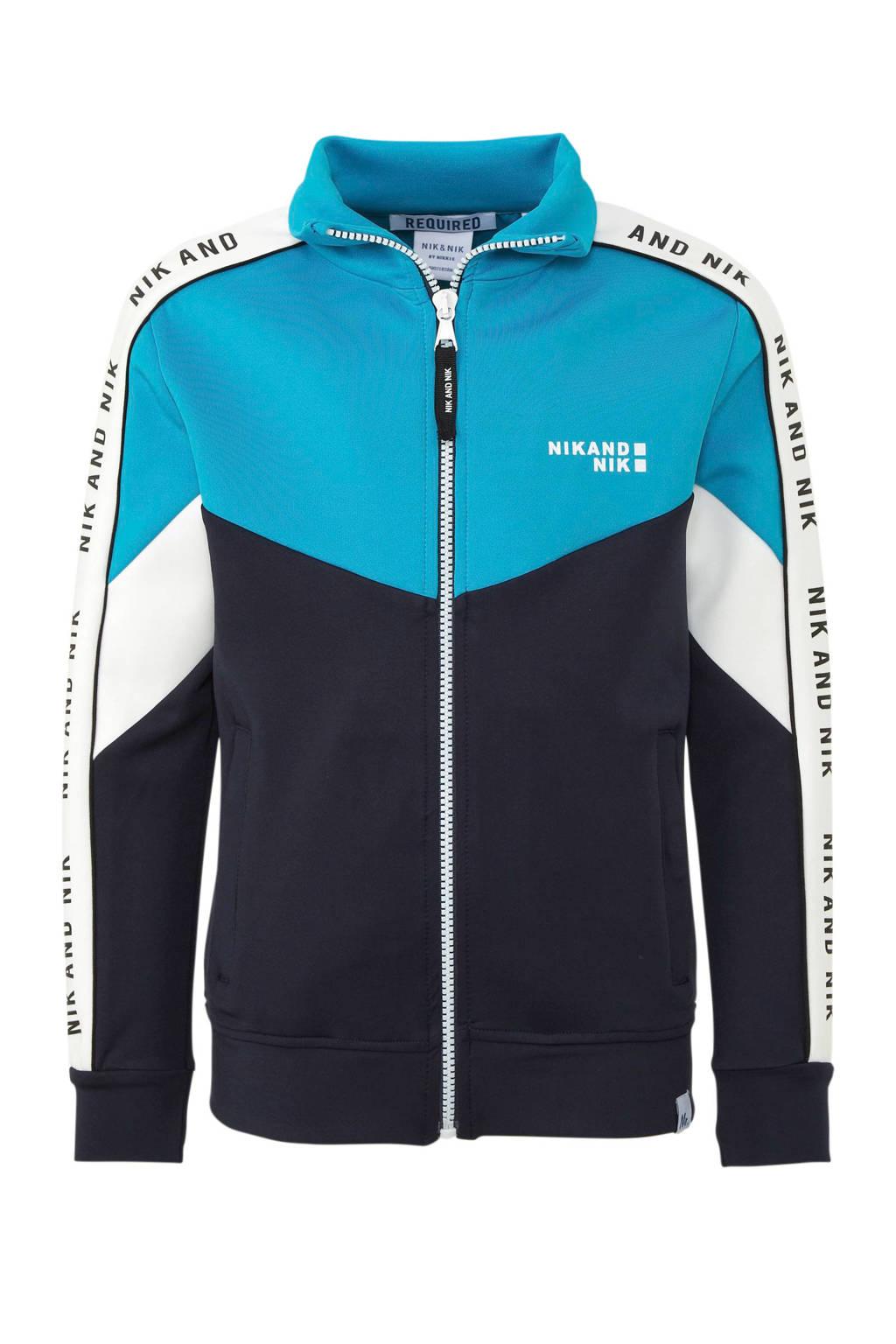 NIK&NIK vest Almo met contrastbies blauw/donkerblauw/wit, Blauw/donkerblauw/wit