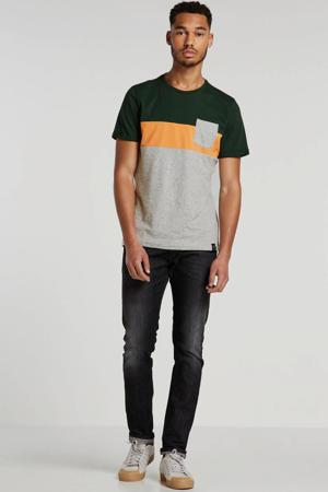 T-shirt ecru/oranje/groen