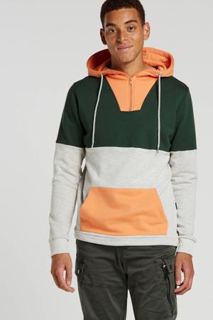 hoodie met all over print oranje/groen/grijs