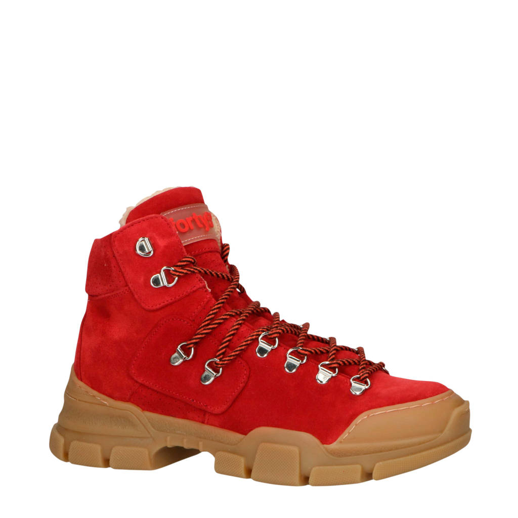 Forty5Degrees   Cortina suède veterboots rood, Rood