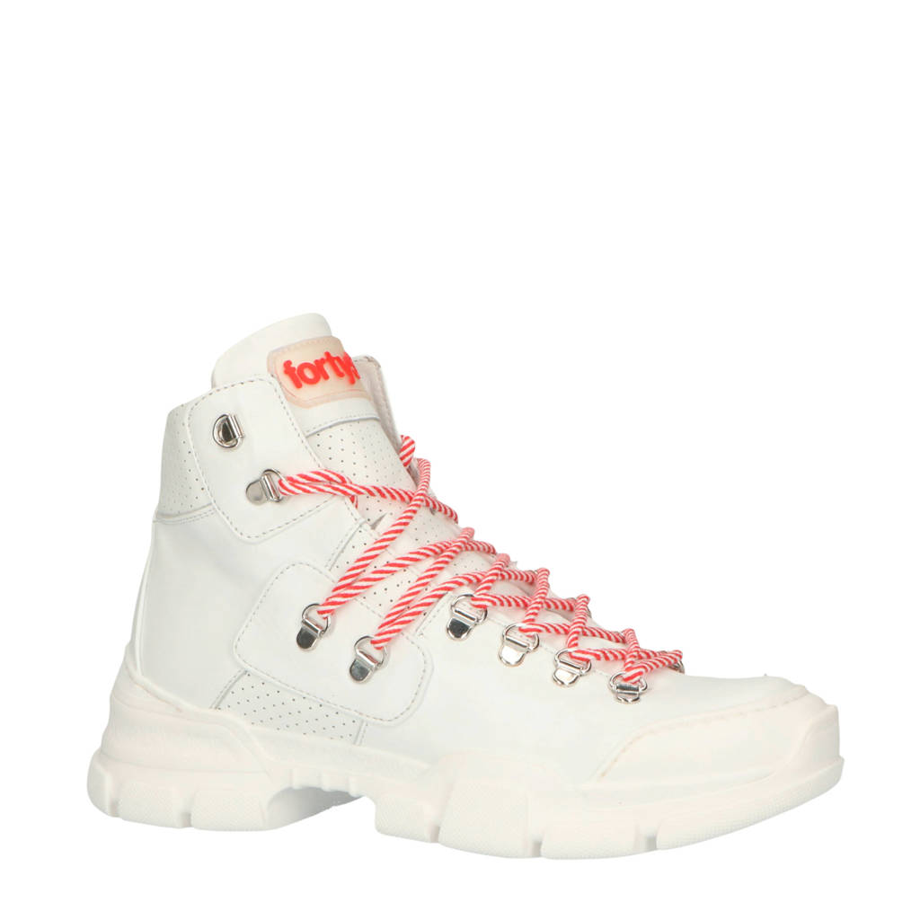 Forty5Degrees   Cortina leren veterboots wit, Wit/rood