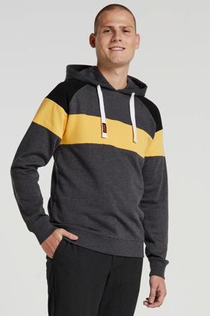 gestreepte hoodie grijs/geel/zwart