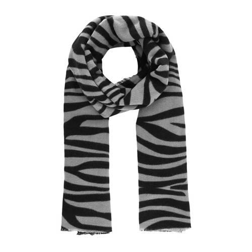 PIECES sjaal Poline met zebraprint ecru