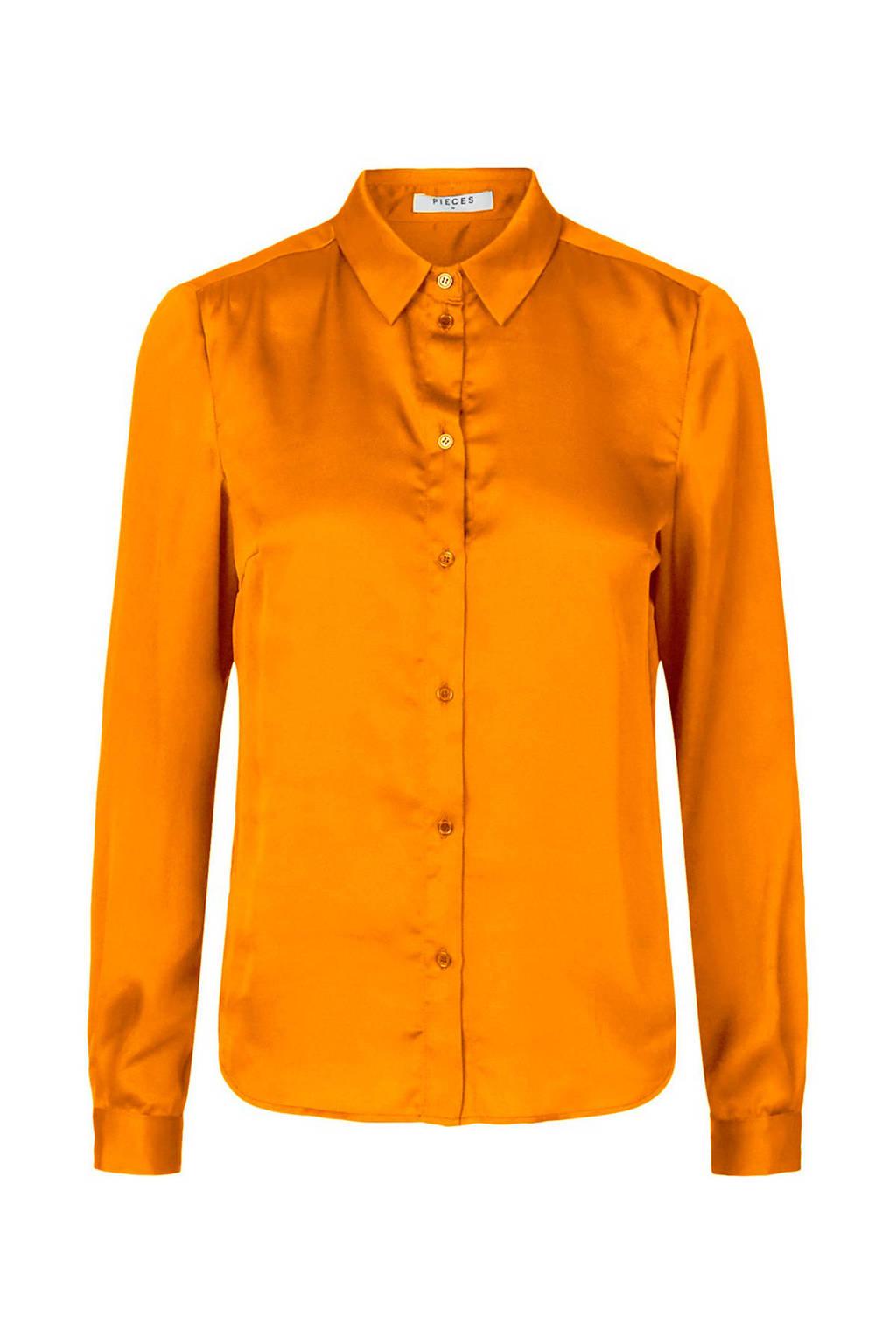 PIECES blouse oranje, Oranje