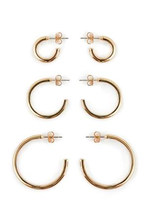 oorbellen set van 3 paar goud