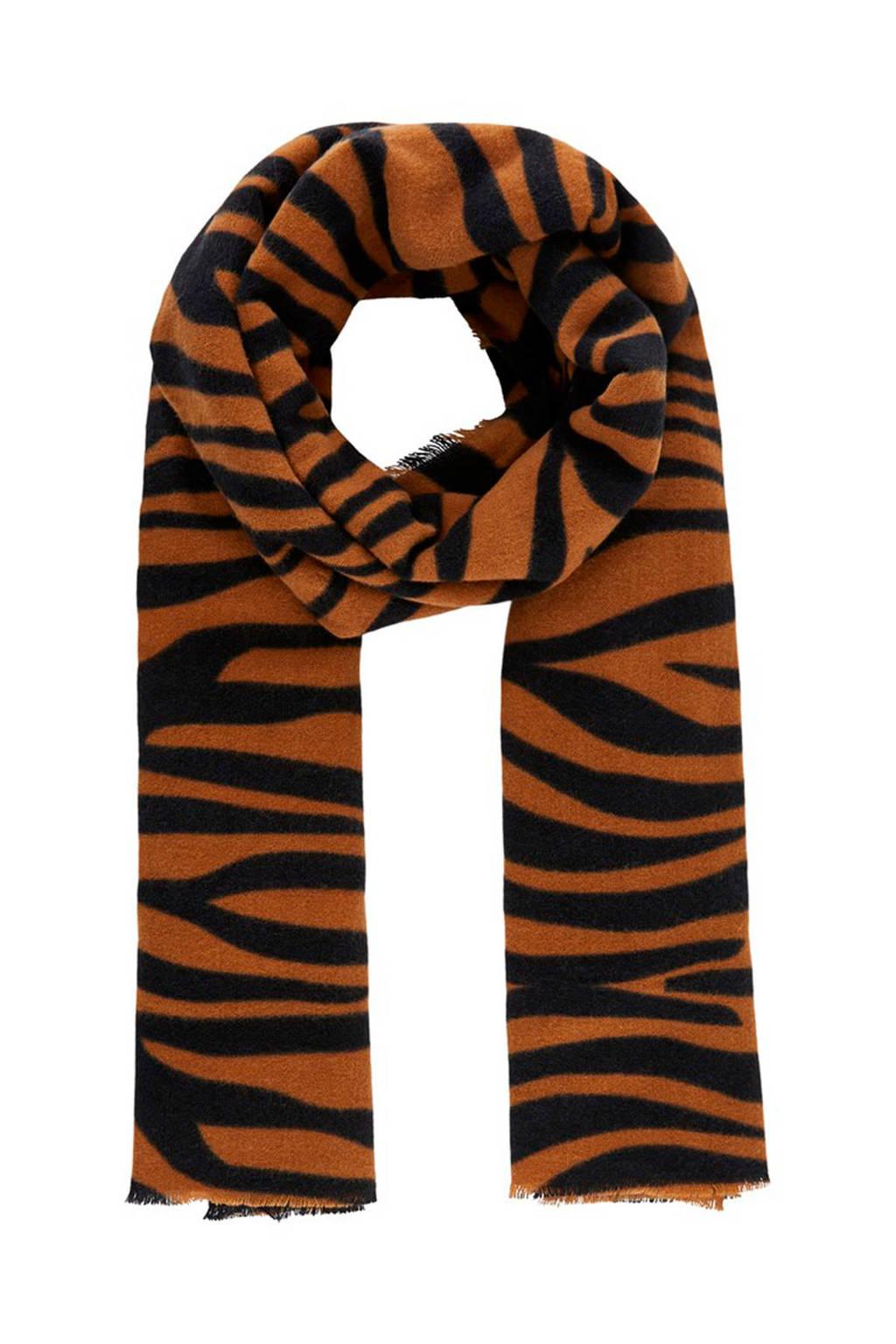 PIECES sjaal Poline met tijgerprint bruin, Bruin