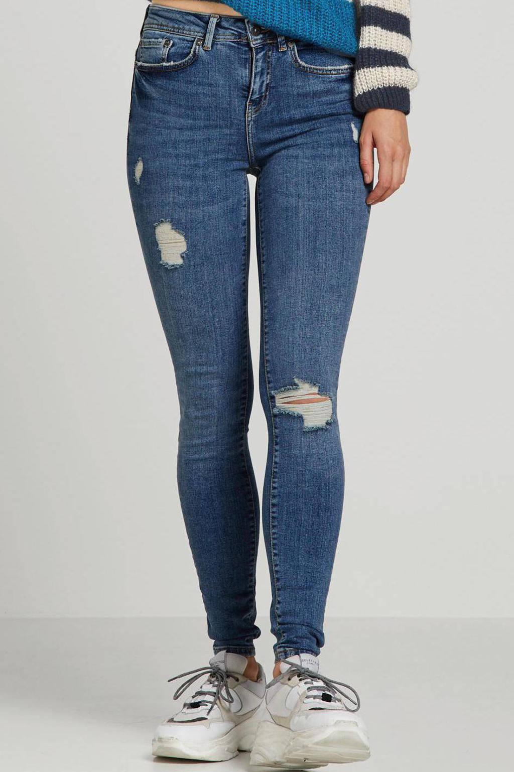 NOISY MAY high waist skinny jeans blauw, Blauw