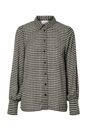 geruite blouse grijs