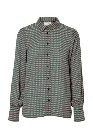 geruite blouse bruin