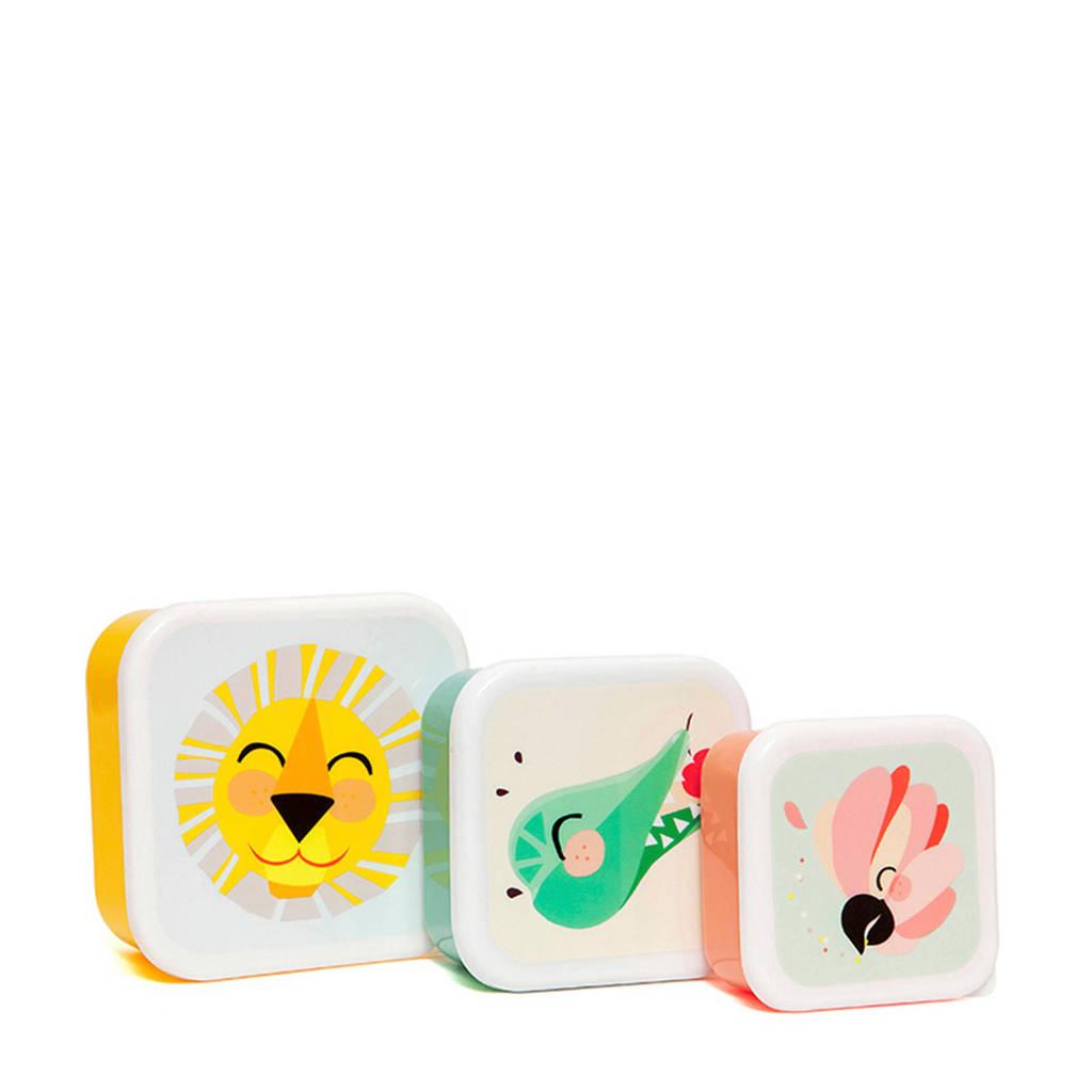 Petit Monkey lunchboxset, Geel/groen/perzik