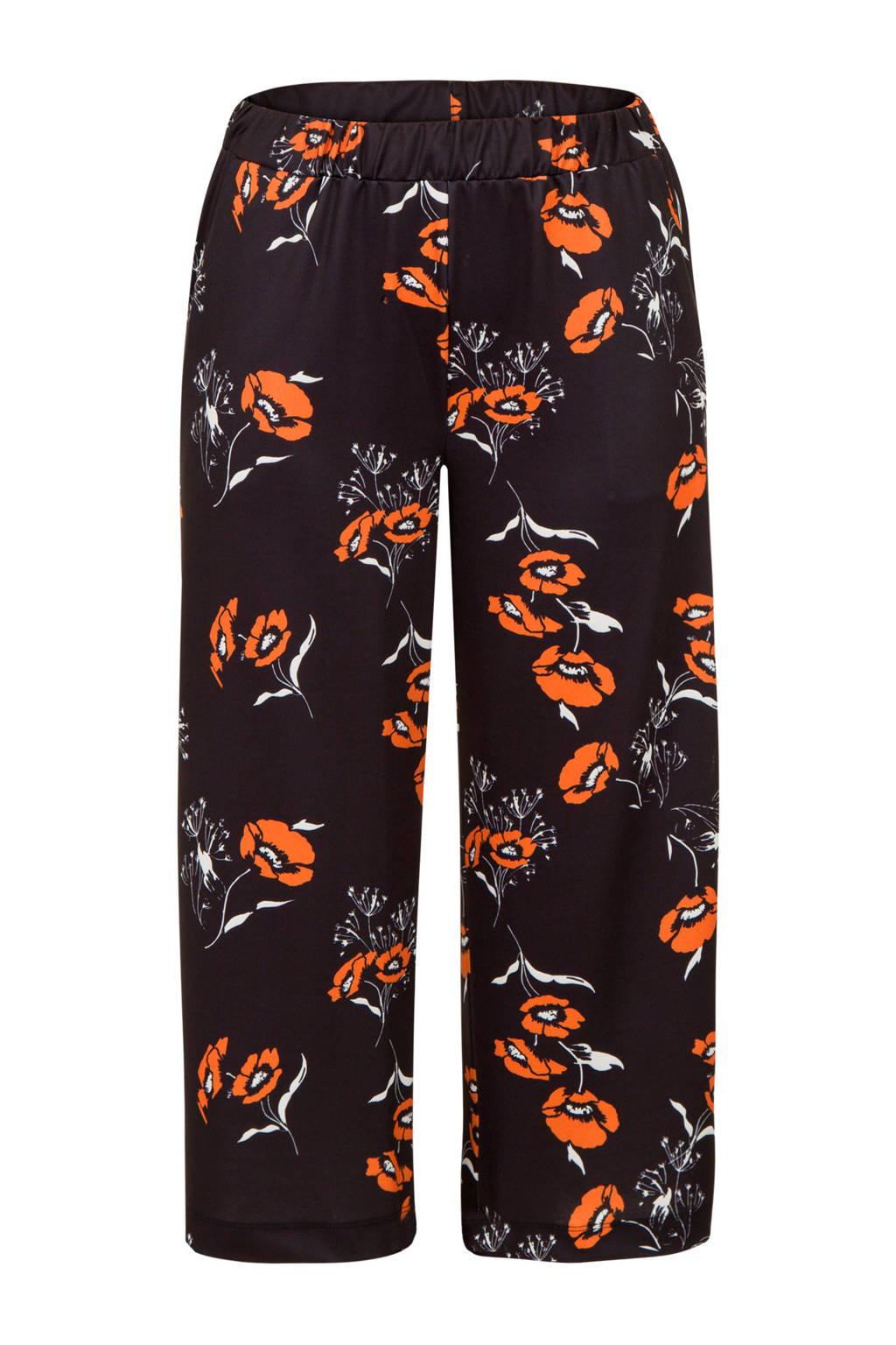 Miss Etam Plus gebloemde loose fit broek zwart, Zwart